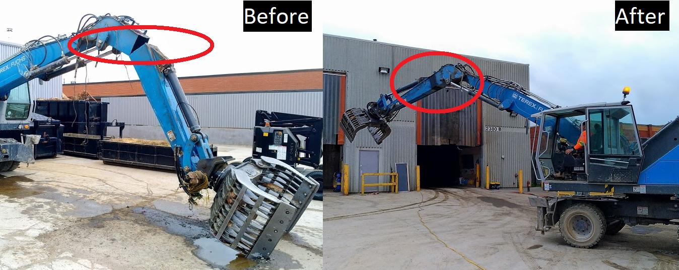 Welder cleaning metal during portable welding service