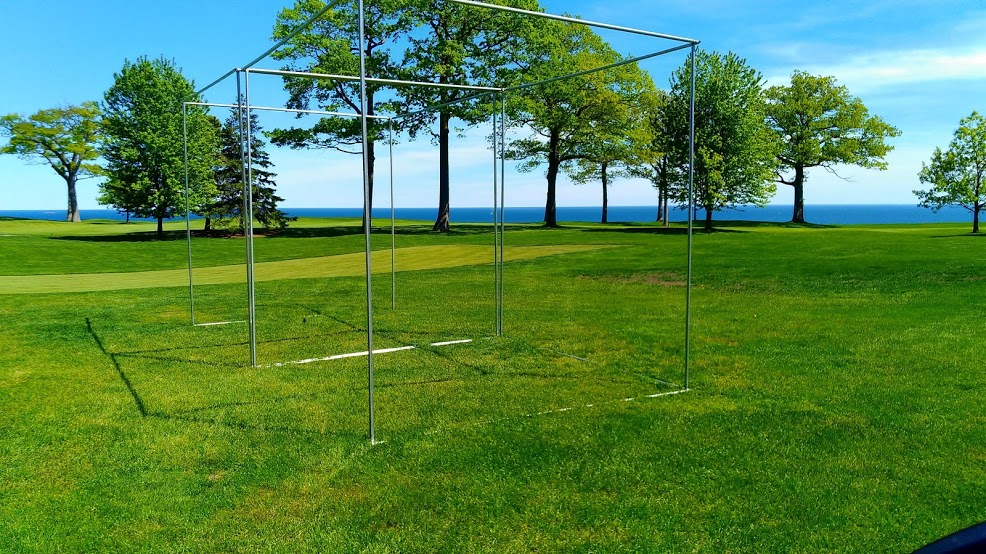 A swing cage for golfing that we had a mobile welder fabricate on-site
