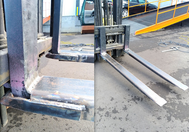 Modified and welded locking mechanisms onto forklift extensions